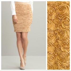Banana Republic Gold Sparkly Rosette Pencil Skirt